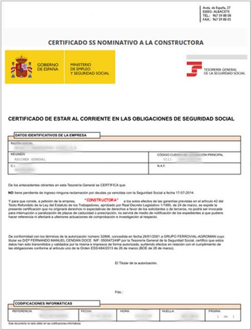 Las novedades de obralia certificado de la ss nominativo a la constructora - Bauen empresa constructora ...